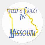 Missouri - salvaje y loco etiquetas redondas