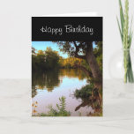 """Missouri Shoal Creek at Dusk Birthday for Men Card<br><div class=""""desc"""">Here is the perfect birthday card for that special guy that loves nature or fishing. This card was designed from a photograph I took place of Shoal Creek at Wildcat Park in SW Joplin,  Missouri.  The card has an inside greeting,  you may change to your own text.</div>"""