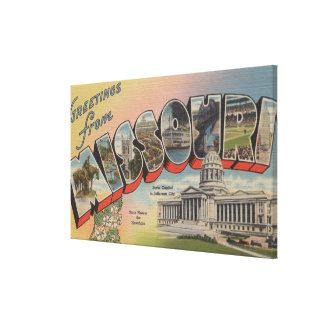 Missouri (State Capital/Flower) Stretched Canvas Print