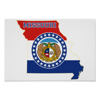 Missouri State Flag and Map Poster