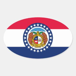Missouri State Flag Design Oval Sticker