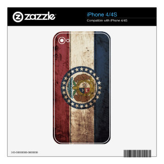 Missouri State Flag on Old Wood Grain Decal For iPhone 4