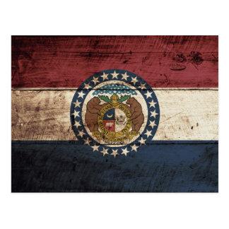 Missouri State Flag on Old Wood Grain Postcard