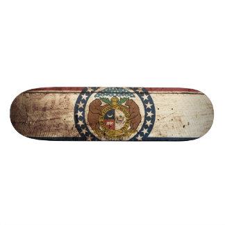 Missouri State Flag on Old Wood Grain Skate Board Deck