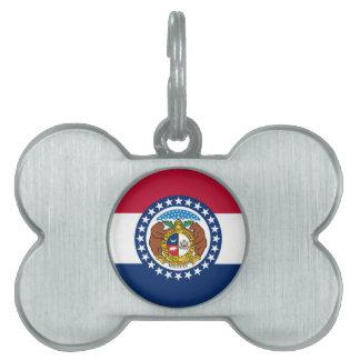 Missouri State Flag Pet Name Tag