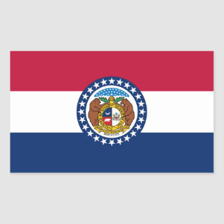 Missouri state flag rectangular sticker