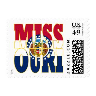 Missouri  state flag text postage