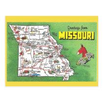 Missouri State Map Postcard