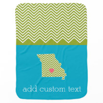 Missouri State Map with Custom Red Heart and Name Swaddle Blanket