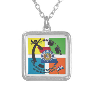 MISSOURI STATE MOTTO GEOCACHER SILVER PLATED NECKLACE