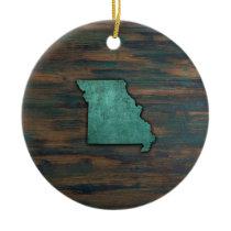 Missouri State Shape Teal Ceramic Ornament
