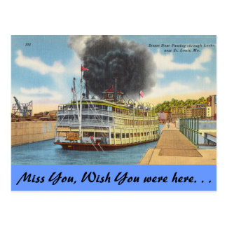 Missouri, Steam in Locks, St. Louis Postcard