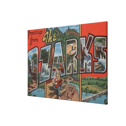 Missouri - The Ozarks - Large Letter Scenes 2 Canvas Print