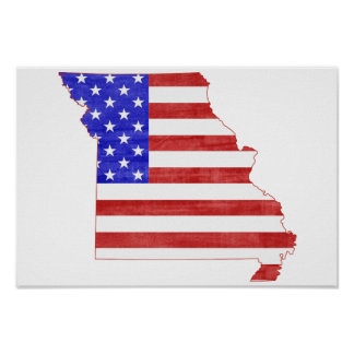 Missouri USA flag silhouette state map Poster