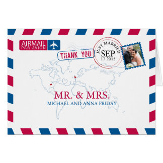 Missouri USA & UK Airmail Wedding Thank You Card