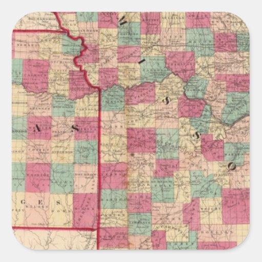Missouri y Kansas Pegatina Cuadrada