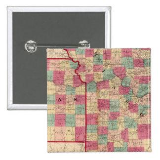 Missouri y Kansas Pin Cuadrada 5 Cm