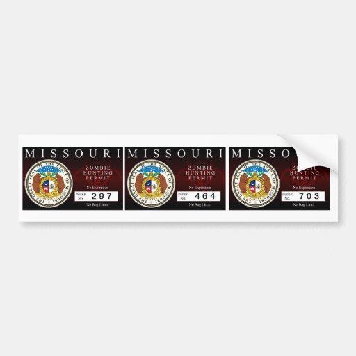 Missouri Zombie Hunting Permit Bumper Stickers