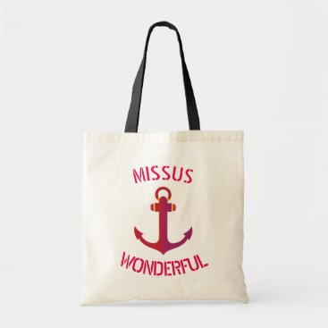 Beach Themed Missus Wonderful Red Anchor Nautical Theme Tote Bag