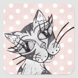 Missy Cat 02 Square Sticker