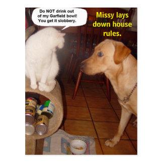 Missy coloca reglas de la casa tarjetas postales