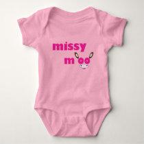 Missy Moo Cow Logo Pink Baby Bodysuit
