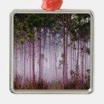 Mist among pine trees at sunrise, Everglades Christmas Ornaments