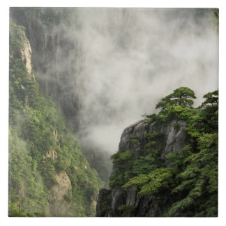 Mist among the peaks and valleys of Grand Canyon Ceramic Tile