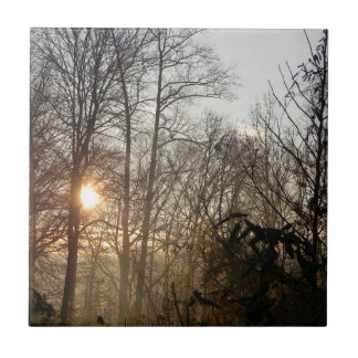 Mist and Tree with a Sun Heart Tile