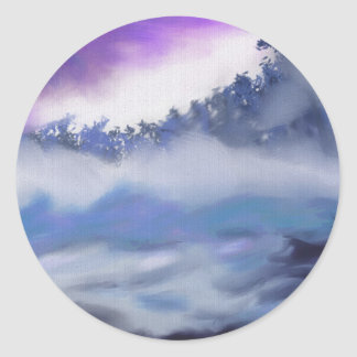 Mist over Freezing Water Art Classic Round Sticker