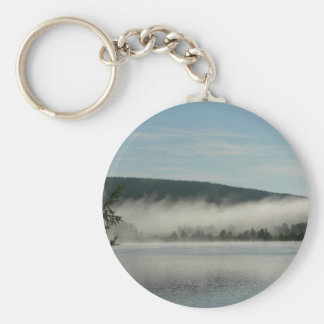 Mist Over Lake In Morning Keychains