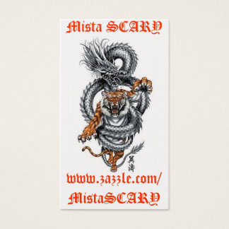 Mista SCARY Dragon Tiger Breathing Fire Profile Business Card