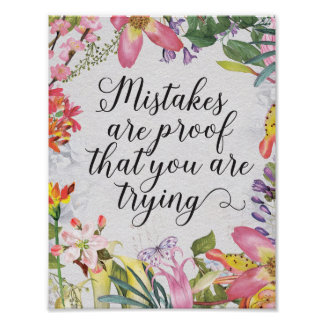 Mistakes are proof you are trying classroom gift poster