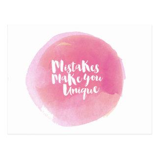 Mistakes Make You Unique Postcard