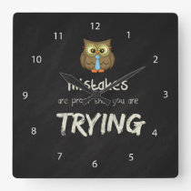 Mistakes Square Wall Clock
