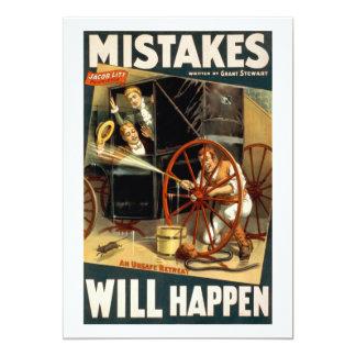 "Mistakes Will Happen 5"" X 7"" Invitation Card"