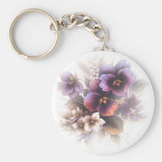 Misted Purple Pansies Keychain
