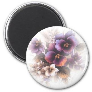 Misted Purple Pansies Magnet