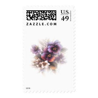 Misted Purple Pansies Postage Stamps