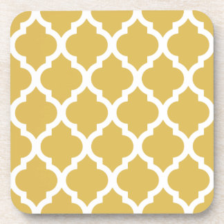 Misted Yellow Moroccan Tile Trellis Beverage Coaster