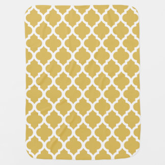 Misted Yellow Moroccan Tile Trellis Baby Blanket
