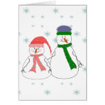 Mister and Misses Snowman Snowing Whimsical Art Greeting Card