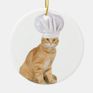 Mister Cat Chef To You Double-Sided Ceramic Round Christmas Ornament