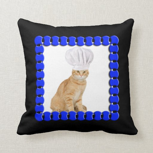 Mister Cat Chef To You Throw Pillows