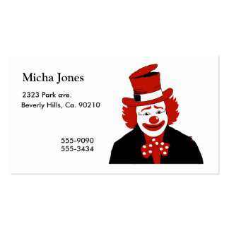 Mister Cool Clown With Dotted Bowtie Double-Sided Standard Business Cards (Pack Of 100)