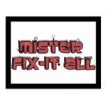 Mister Fix-It All Wooden Text Design Postcard