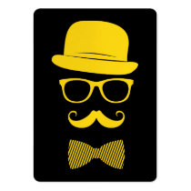 hipster, funny, mister hipster, mustache, glasses, fashion, cool, yellow, vintage, business card, classy, style, swag, hat, grunge, bow-tie, business, card, Business Card with custom graphic design