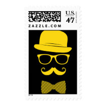 mister hipster, fashion, bro, cool, yellow, mustache, vintage, classy, funny, stamp, style, swag, hat, grunge, bow-tie, glasses, postage, Stamp with custom graphic design