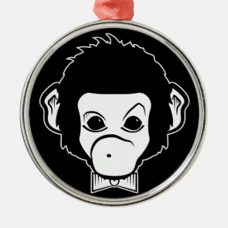mister monkey round metal christmas ornament