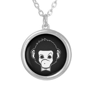 mister monkey silver plated necklace